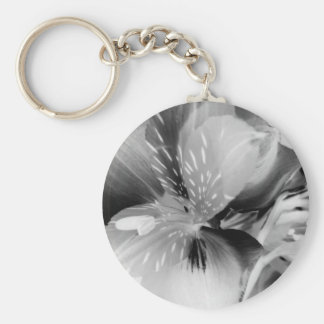 Alstroemeria Peruvian Lily Flower in Black & White Key Ring