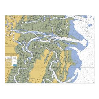 Altamaha River, Darien, GA Nautical Chart Postcard