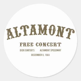Altamont Free Concert Round Stickers