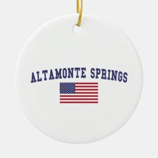 Altamonte Springs US Flag Round Ceramic Decoration