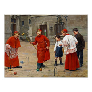 Altar Boys ~ Playing Croquet ~Paul Chocarne-Moreau Poster