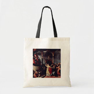 Altar Of St Lucia Table: St. Lucia Before The Judg Budget Tote Bag