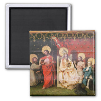 Altarpiece depicting Christ with St. Thomas Square Magnet