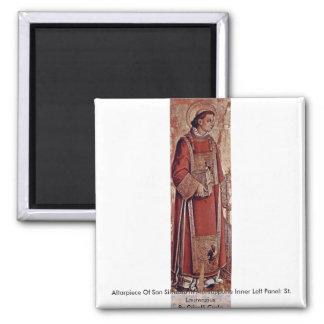 Altarpiece Of San Silvestro In Montappone Square Magnet