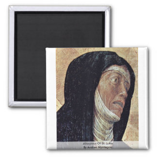 Altarpiece Of St. Luke  By Andrea Mantegna Square Magnet