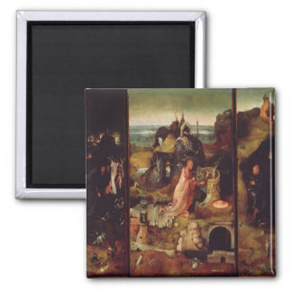 Altarpiece of the Hermits (oil on panel) Square Magnet