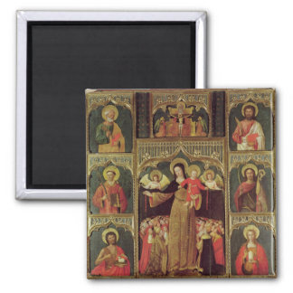 Altarpiece of the Virgin of the Rosary, c.1500 Square Magnet