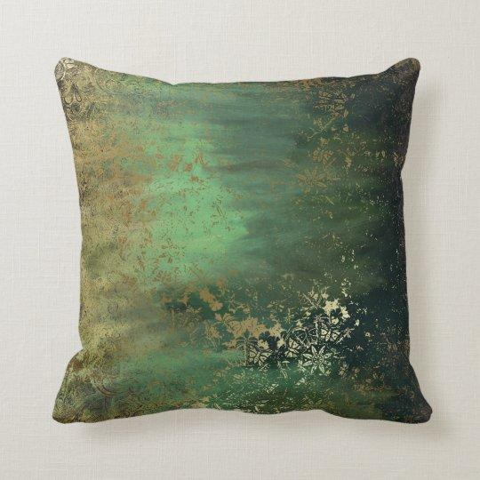 Altered Art Teal Green Throw Pillow