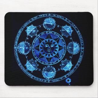 Altered Light Blue Zodiac Sun Eclipses Mousepad
