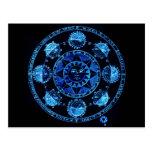 Altered Light Blue Zodiac Sun Eclipses Post Card