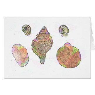 Altered Vintage Print Seashells Card