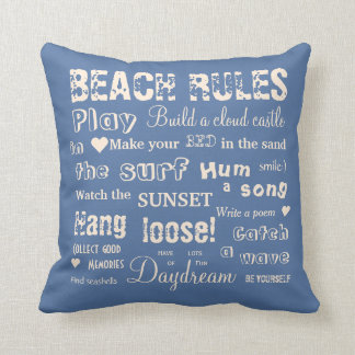 Alternate Beach Rules Beige/Blue Reversible Pillow
