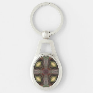 Alternate Dimensions Tiled Abstract Silver-Colored Oval Key Ring