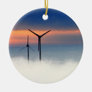 Alternative Energy - Wind Power in the Clouds Round Ceramic Decoration