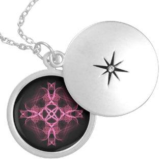 Alternative Goth Pink Celtic Cross Locket Necklace