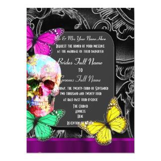 Alternative gothic sugar skull wedding 17 cm x 22 cm invitation card