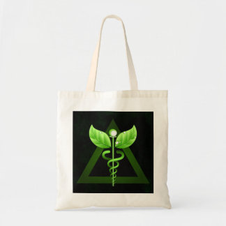 Alternative Medicine Green Caduceus Affordable Budget Tote Bag