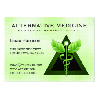 Alternative Medicine Light Green Caduceus Large Pack Of Chubby Business Cards