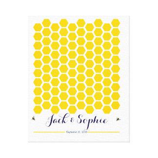 Alternative wedding guest book Bee honey signature