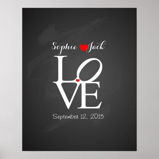 Alternative wedding guest book LOVE chalkboard