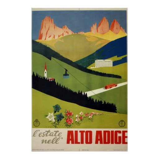 Alto Adige (South Tyrol) Italy Vintage Travel Poster