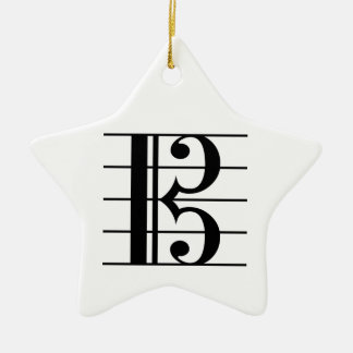 Alto Clef on Staff Christmas Ornament