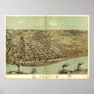 Alton Illinois 1867 Antique Panoramic Map Poster