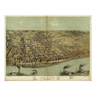 Alton Illinois 1867 Antique Panoramic Map Posters