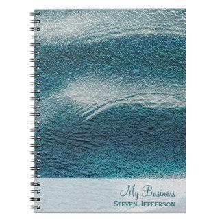 Aluminium grunge aqua blue white waves notebooks