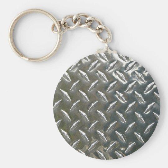 Aluminium Metal Checkerplate Basic Round Button Key Ring