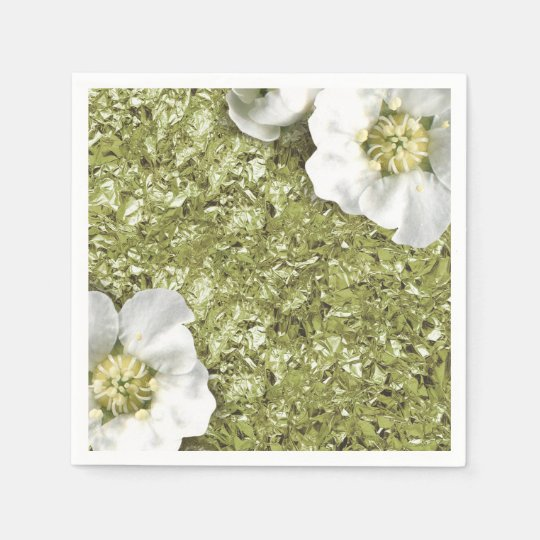 Aluminium Metallic White Floral Mint Green Creased Paper