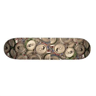 Aluminum cans, recycled skate board