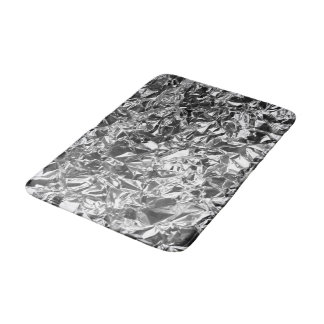 Aluminum Foil Design Silver Color Bath Mat
