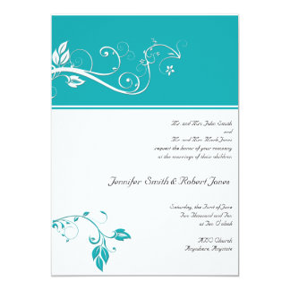"Always and Forever Aqua 5"" X 7"" Invitation Card"