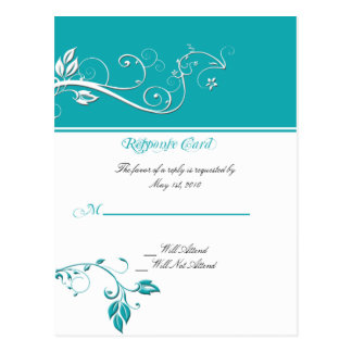 Always and Forever Response Card Aqua Postcards