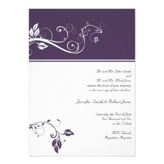 Always and Forever Violet Color Band Vine Scroll Personalized Announcements
