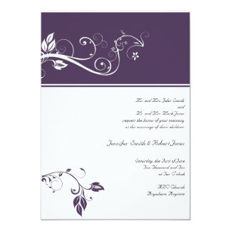 "Always and Forever Violet Color Band Vine Scroll 5"" X 7"" Invitation Card"