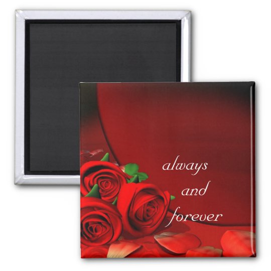 always and forever white square magnet