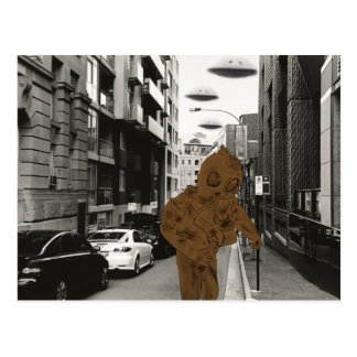 Always explore street life gold scuba dude postcard