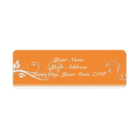 Always Forever Orange Vine Scroll Return Address Return Address Label