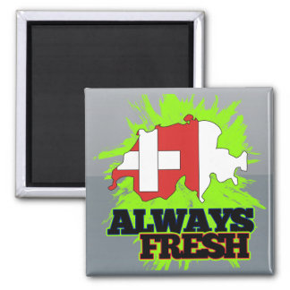 Always Fresh Switzerland Square Magnet