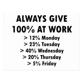 Always give 100% at work postcard