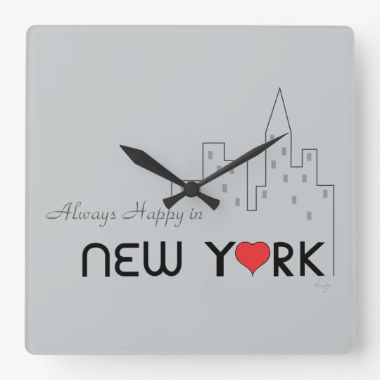 Always Happy in New York Square Wall Clock