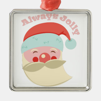 Always Jolly Silver-Colored Square Decoration