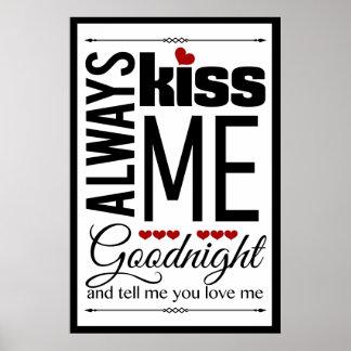 Always Kiss Me Goodnight Bedroom Wall Art