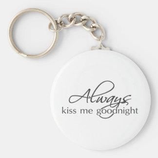 Always kiss me goodnight basic round button key ring