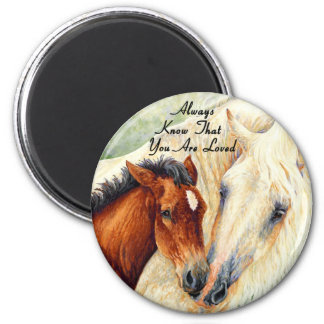Always Know That You Are Loved - Mare & Foal 6 Cm Round Magnet