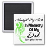 Always My Hero In Memory Dad - Lymphoma Square Magnet