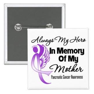 Always My Hero In Memory Mother - Pancreatic Cance 15 Cm Square Badge