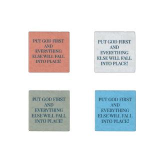 Always Put God First Stone Magnet